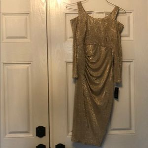 Gold metallic cold shoulder dress